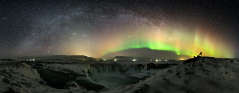 Amazing Picture: Aurora, Milky Way, and the Waterfall of the Gods in Iceland.